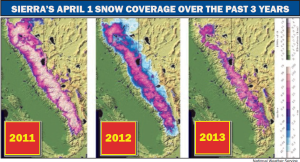 Sierra's April 1 Snow Coverage Over The Past 3 Years