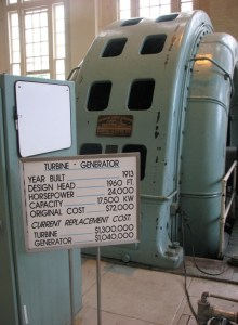 One of the original 1913 turbine-generator units still in service in the Big Creek No. 1 powerhouse.