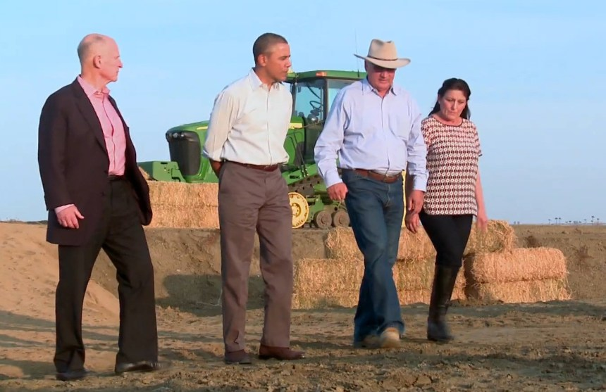 Governor Brown, President Obama, and Joe and Maria Gloria del Bosque during a West Side drought tour.