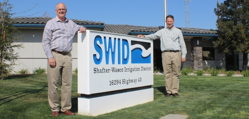 It's been a time of transition in the Shafter-Wasco Irrigation District. One change is SWID's new office near Wasco. The other is in managers, from Jerry L. Ezell (left) to Dana Munn, who previously managed the North Kern Water Storage District.