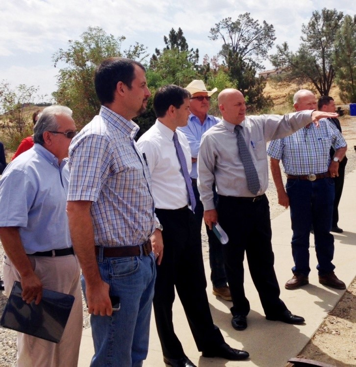 Senator Marco Rubio (THIRD FROM LEFT) is joined during a Millerton Lake visit by (FROM LEFT) Mario Santoyo, Friant Water Authority Assistant General Manager; Cannon Michael, Merced County grower;  Joe Del Bosque, California Water Commissioner; FWA General Manager Ronald D. Jacobsma; and FWA Chairman Harvey Bailey.