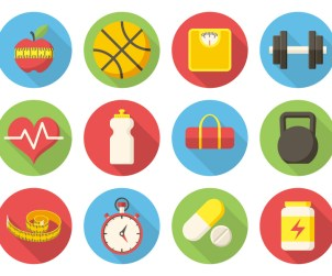 Fitness icons, modern flat design with long shadow