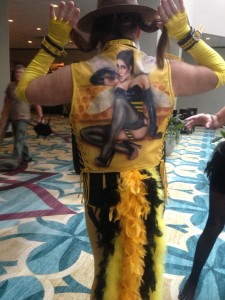 Fetish Con 2013: Not clear if Williams sees himself as the bee on his back or if it's more like a Wanted poster.