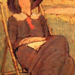 Virginia Woolf in Deckchair by Vanessa Bell, 1912