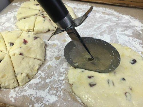 cranberry white chocolate cream scones prep