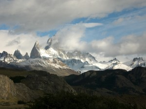 A nearly clear sighting of Mt. Fitz Roy before pulling out of town
