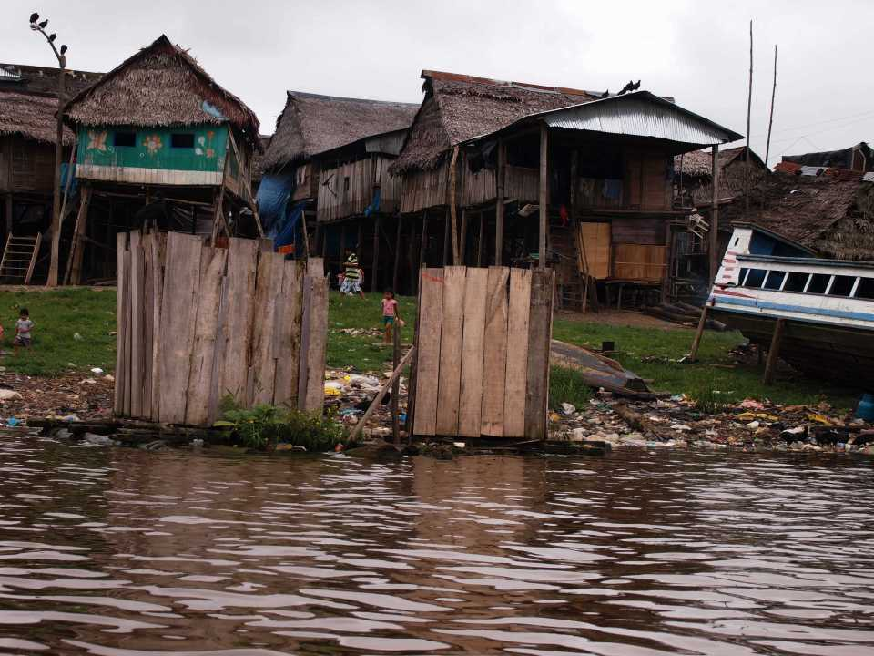 Floating outhouses in Belen.