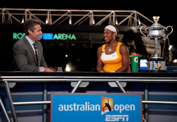 Chris Fowler (L) interviews Serena Williams after she won the 2010 Women&#039;s Australian Open. (Ben Soloman/ESPN Images)
