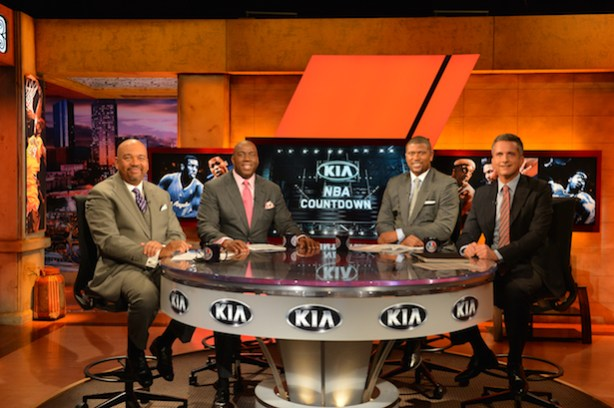 The NBA Countdown crew (L-R) Michael Wilbon, Magic Johnson, Jalen Rose and Bill Simmons. Magic Johnson won&#039;t be appearing in New Orleans. (Scott Clarke / ESPN)