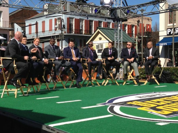 A collection of ESPN's Super Bowl champions on-set in New Orleans. (Tonya Malinowski/ESPN)