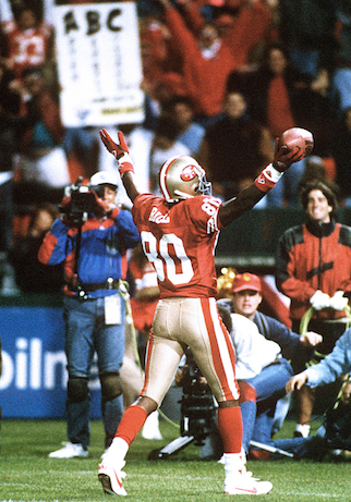 ESPN's Jerry Rice during his time on the San Francisco 49ers. (credit?)