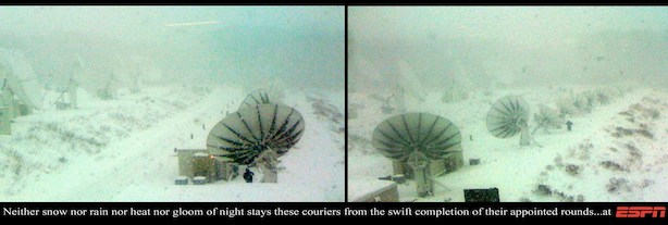 ESPN staff work  to keep the satellite antennas free of snow and ice during a winter storm. (ESPN)