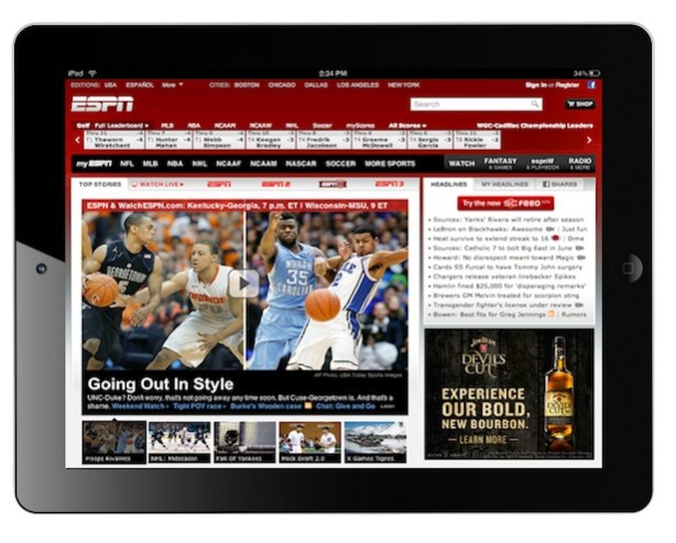 ESPN.com on an IPad