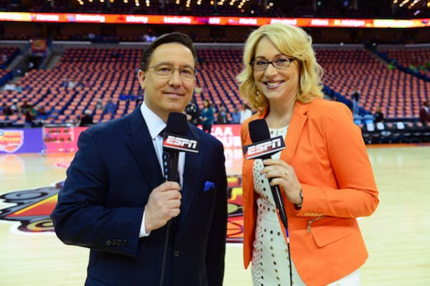 ESPN play by play announcers Dave O'Brien and Doris Burke. (Phil Ellsworth/ESPN Images)