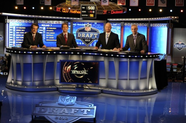 ESPN NFL Draft coverage team includes (L-R) Mel Kiper, Jr., Todd McShay, Trent Dilfer and Trey Wingo. (Allen Kee/ESPN Images)