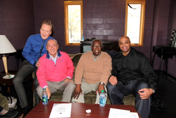 Conan, Dickie V, Hank Aaron and Sir Charles backstage (Photo Courtesy of TBS)