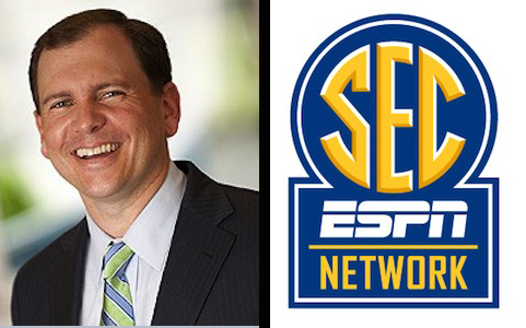 ESPN's Justin Connolly and the new SEC Network logo.