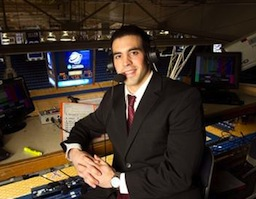 Joe Davis preparing to call the 2013 NCAA Women's College Basketball Tournament at Duke University's Cameron Indoor Stadium for ESPN2. (Photo courtesy of Joe Davis)