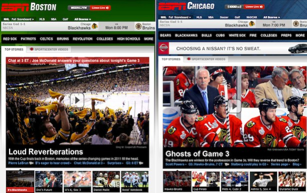 ESPN Boston and ESPN Chicago