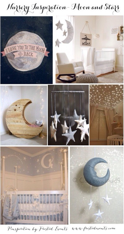 Baby Room- Nursery Design Inspiration - Moon and Stars Theme nursery inspiration for gender neutral nursery or unisex nursery @frostedevents