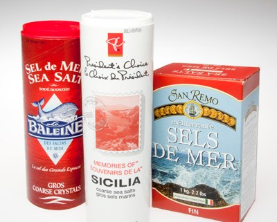 Three boxes of sea salts