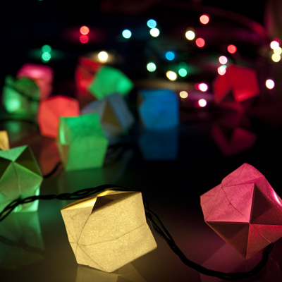 Origami Boxes Cover Coloured LED String LIghts - Casey Phaisalakani
