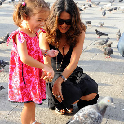 Salma Hayek, and Daughter Valentina in Redfish Kids butterfly Dress, $55