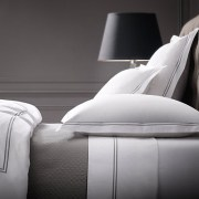 Italian Hotel Satin Stitch Bedding White Collection- Restoration Hardware