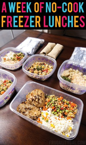 Freezer Meals: Put together a week of no-cook make ahead meals to save time and money! Just take 30 minutes to put these make ahead lunches for work together, and grab and go in the mornings!