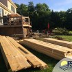 Rabolt Wood Deck with Black Balusters and Solar Caps