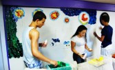 Members working on the wall