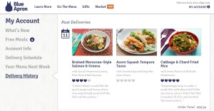 Blue Apron delivery history