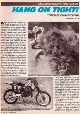 Dirt Bike Magazine RM250 Z Test – January 1982
