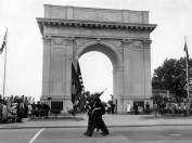 A color guard from the Marine Corps reserve, 97th Rifle Company, presents the colors as part of the Memorial Day service at the Victory Arch in May 1967. (Daily Press archive)