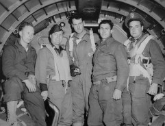 Maurice Smith is pictured 4th from the left in this photo of his C-47 crew during WWII. Smith was the radio operator when his plane was tasked to ferry Airborne troopers behind enemy lines just before the D-Day invasion.