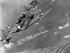 Dauntless dive bombers from the USS Hornet launch an attack on a Japanese carrier during the June 4-7, 1942 Battle of Midway.