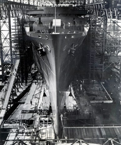 The SS America nears her launching date at Newport News Shipbuilding in august 1939. (1939-1989)
