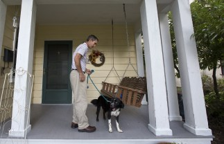 Jim arrives home after an afternoon walk with Duke, the family dog, on September 30. (Kaitlin McKeown)