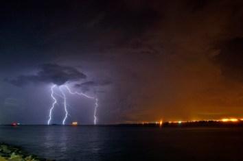 Lightning flashes near Fort Monroe as severe storms move through the area Thursday evening. (Jonathon Gruenke)