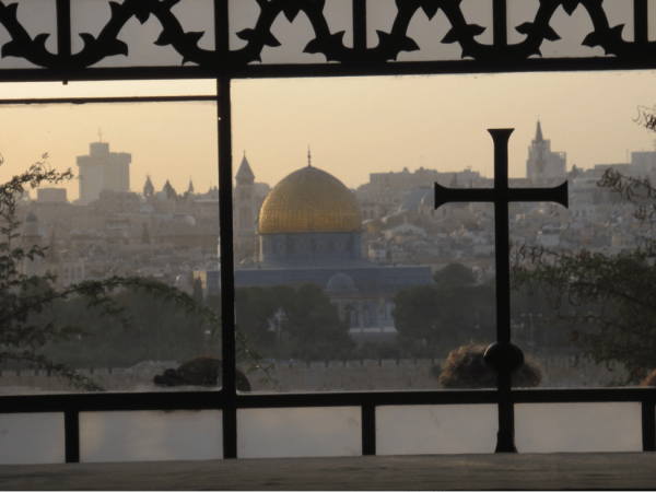 View out window at Church of All Nations next to Garden of Gethsemane – Photograph by Brenda Mehos.