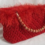 Red Fringed Purse with Painted Bead Handles $45.00