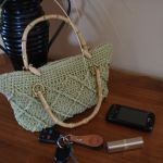 Tropical Delight Celery Green Purse with Bamboo handles and bamboo button closure $40.00