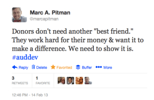 "Image of a twitter chat tweet ""Donor's are not looking for another best friend!"""
