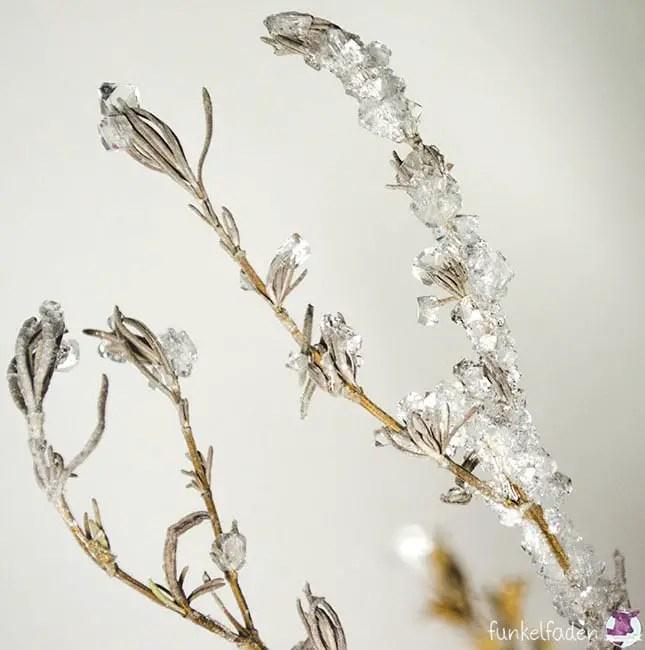 DIY - Anleitung Lavendeläste mit Kristallen bewachsen