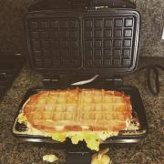 waffled scrambled egg melt