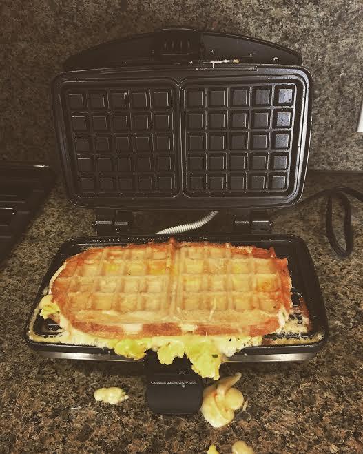 waffled scrambled egg melt