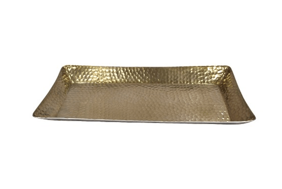 Metal Hammered Serving Tray - Gold