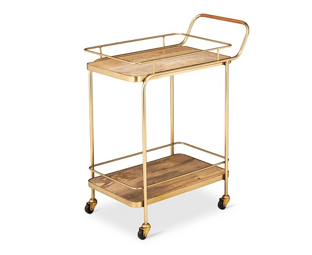 God damn, I want this Metal/Wood/Leather Golden Bar Cart!