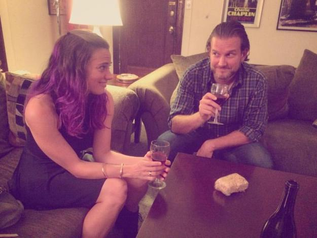 On our 6 month anniversary, Mike and I reenacted the night we met, complete with wine, Rice Krispie Treats, and dubious looks.