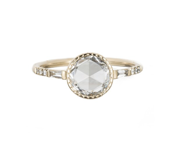 Round baguette diamond ring by Jennie Kwon Designs